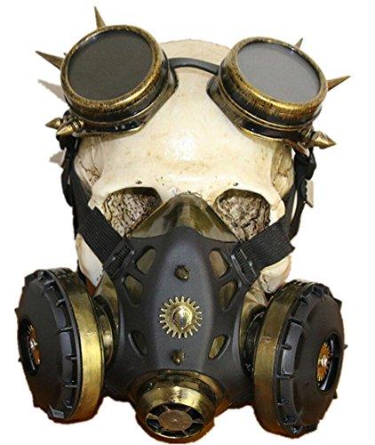 ch und Weiblich Halloween Steampunk Gas Maske Einheitsgröße Bronze (Weiblich Halloween Maske)