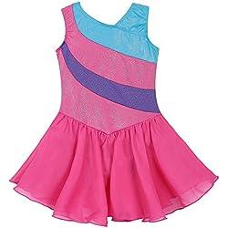 Mallot de ballet/danza con tutú para chica / vestido sin mangas con rayas multicolor, 2-11 años, niña, color Hotpink, tamaño (6-7 Años)