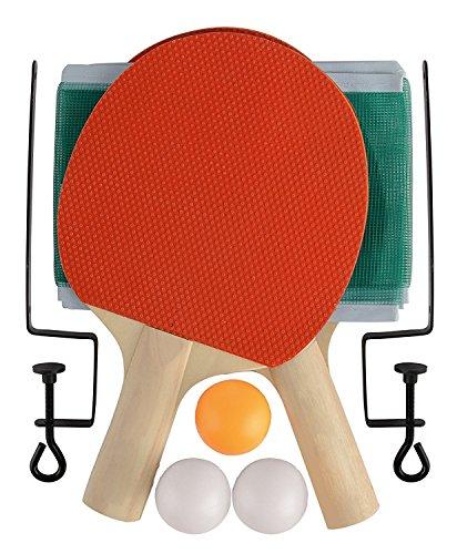 Halskette mit Tischtennis –, tragbar, für Innen- und schnelle, Ping-Pong mit 2Paddel Schläger Schläger, Bälle und Netz mit Stangen –, groß, mit Klemmen für zu Hause, Büro, Bar, Pub, kann in der Schule, Reisen, einfach aufgebaut, und Spielen