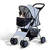 PawHut Pet 4 Wheels Travel Stroller Dog Cat Pushchair Trolley Puppy Jogger Folding Carrier (Grey)