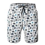 jiger Mens Summer Cool Quick Dry Board Shorts Bathing Suit, Journalism Mass Media Communication Theme Icons Press TV News,Beach Shorts Swim Trunks XXL