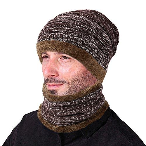 Herren-infinity-schal Fleece (Vbiger Wintermütze Strickmütze Warme Beanie Winter Mütze und Schal mit Fleecefutter für Damen und Herren)