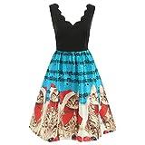 LoveLeiter Damen äRmellose Weinlese Kleid Damen Weihnachten Schneemann Festliches Partykleider Petticoat Frauen RüCkenfrei Minikleid Abendkleid Kleid Mesh Kleidung(Himmelblau,XL)