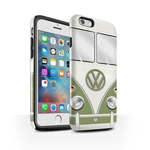 Coque Brillant Robuste Antichoc de STUFF4 / Coque pour Apple iPhone 6S / Titan Rouge Design / Rétro T1 Bus Campeur Collection Mangue Vert