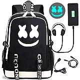 Zaino da viaggio antifurto luminoso con porta di ricarica USB, daypack per notebook unisex universitario (A)