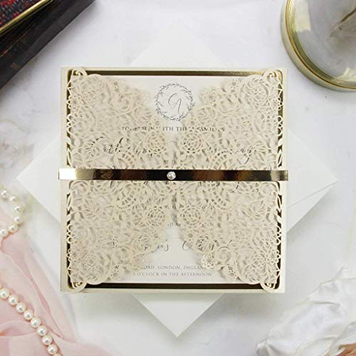 Einladungskarten Lasergeschnittene mit Spitze - Hochzeitskarten Einladungen edles Papier für Geburtstag, Hochzeit, Taufe, Scrapbooking Muster - Sample DIY