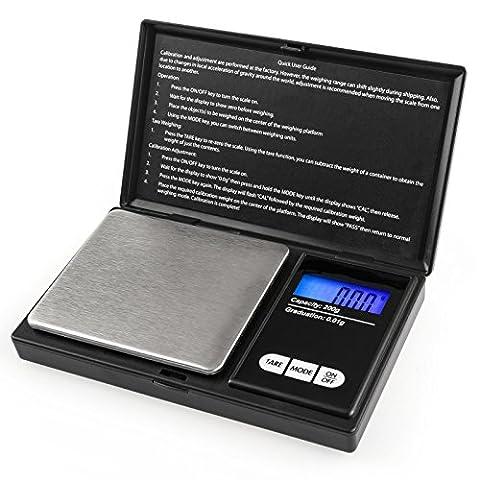 Savisto Balance Digitale De Poche [Capacité de Lecture Précise de 0.01g à 200g] avec Affichage LCD & Fonction Tare - En Noir