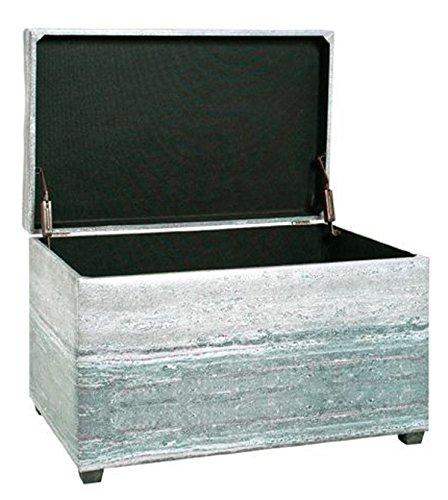 Coffre de rangement coloris gris - Dim : L 65 x P 40 x H 42 cm - PEGANE -
