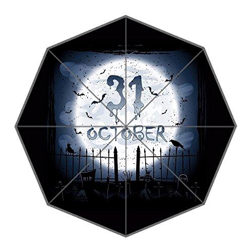 Brauch Halloween P Kürbislaterne 100% Polyester Rohseide Wasserdicht Stoff stabil Aluminium Foldable Regenschirm Umbrella (Halloween Bräuche)