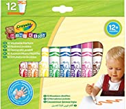 Crayola Mini Kids, Pennarelli Super Lavabili, 12 Pezzi, Punta Arrotondata di Sicurezza, Età 12 Mesi, Colori As