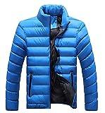 Herren Warm Thicken Stehkragen Mantel Oberbekleidung Daunenjacke Langarm Slim Fit Packbar Mode Marken Ultraleichte Daunenmantel Steppjacke (Color : Brightblue, Size : 5XL)
