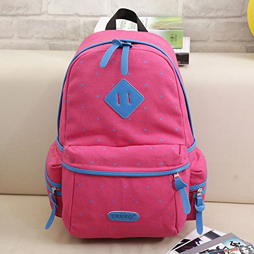 Fashion Trend Canvas Double Shoulder Bag koreanische Version wave Point männlichen und weiblichen Studenten Hochschule wind Tasche reisen, Rosa Pink