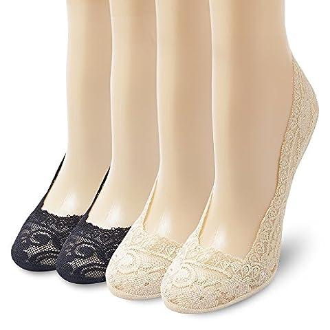 Ambielly Women's Lightweight Silicone Heel Grip Non-Skid Lace Socks(4 Pairs/Set-2 Black & 2 Beige) (Black&Beige)