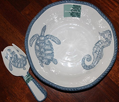 tommy-bahama-beautiful-large-seascape-melamine-salad-bowl-approx-14-with-matching-tongs-by-tommy-bah