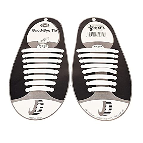 Lugii Cube Coque en silicone à la mode sauvage Défait élastique Lazy sans Cravate en silicone Lacets de chaussures Lacets pour enfants et adultes, blanc