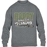 Geschenke für Angler - Happy Fishing mit Angelrute Kinder Pullover Sweatshirt Large Grau