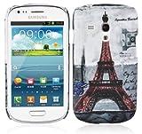 Cadorabo Hülle für Samsung Galaxy S3 MINI - Hülle im Design PARIS - EIFFELTURM – Hardcase Handyhülle mit Aufdruck - Schutzhülle Bumper Back Case Cover