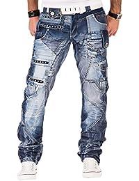 Kosmo Lupo K&M 001 Designer Herren Jeans Hose Clubwear Style Blau Verwaschen Multi Pocket W29-W38 / L32-L34