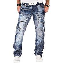 61a3ed56a1eb Kosmo Lupo K M 001 Designer Herren Jeans Hose Clubwear Style Blau  Verwaschen Multi Pocket W29-