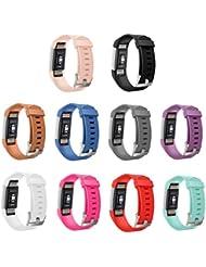 gincoband 10piezas Reemplazo Bandas para Fitbit Charge 2Fitness muñequera con Metal Cierres, color set of 10