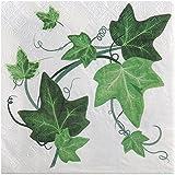 20 Stück Papierservietten 'Efeu', grün
