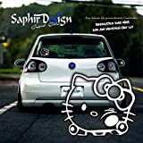 Hello Kitty an der Scheibe / HelloKitty / Sehr Coole Autoaufkleber / 10x12cm / M118 Farbe Weiss