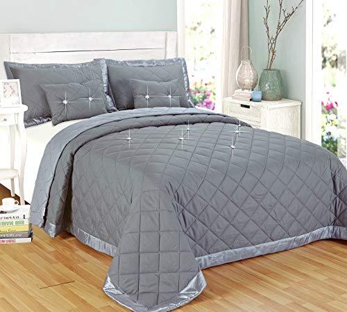 THL Diamant grau Tagesdecke 5Stück Tröster Bett Überwurf wendbar Größen Single Double King Super King Size, grau, Super King -