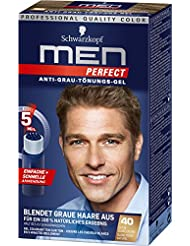 3x Schwarzkopf men PERFECT /Anti-Grau Tönungs-Gel/ Speed-System 5 Min./40 Natur Dunkelblond/ Blendet graue Haare...