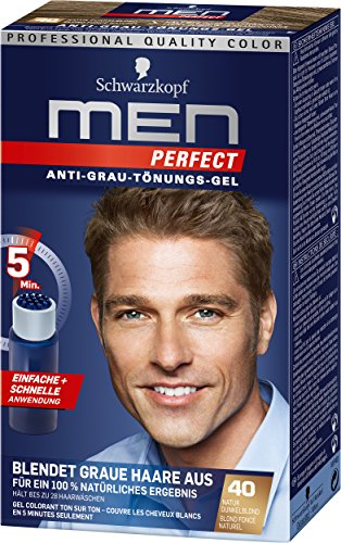 Herren Kurze Wirkung (Schwarzkopf Men Perfect Anti-Grau-Tönungs-Gel, 40 Natur Dunkelblond 3er Pack (3 x 80 ml))
