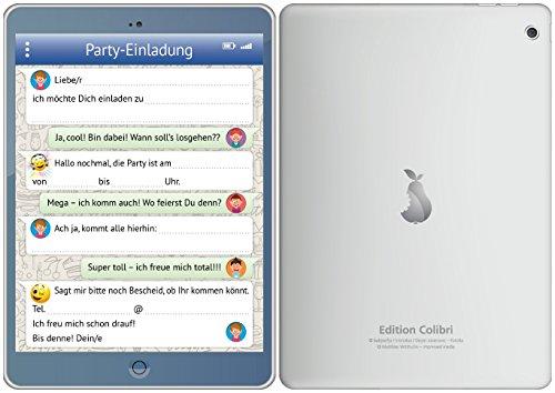 Preisvergleich Produktbild Handy-/Tablet-Einladungen (Set 2): 12-er-Set lustige Handy-/TabletEinladungskarten mit WhatsApp-Nachricht und Smileys/Emojis zum Kindergeburtstag oder zur Party von EDITION COLIBRI © (10730)