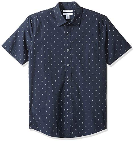 im-Fit Short-Sleeve Print button-down-shirts, Anchor, US S (EU S) ()