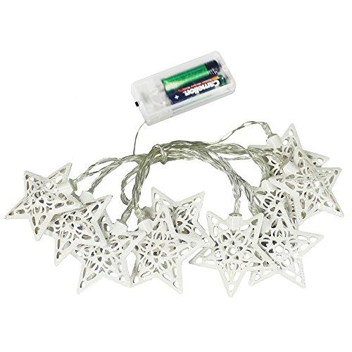 com-four 10er LED Lichterkette mit Sternen Dekoration batteriebetrieben biegsam Beleuchtung - Schaffen Sie Atmosphäre (weiß)