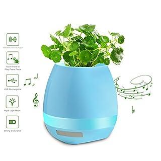 Aznoi - Musik Blumentopf Lampe Licht LED Multicolor Wiederaufladbare Bluetooth Lautsprecher Wasserdichte drahtlose Anlage Touch Play Piano - Blau