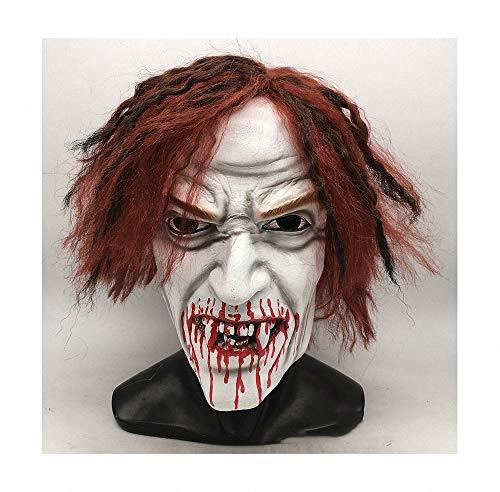 Blutiges Scream Kostüm - Halloween Grimasse Maske Halloween Scary Maske Horror Gruselig Latex Masken Scream Horror Maske Blutiger Clown Hutfixierung für Halloween Fasching Karneval Party Kostüm Cosplay Dekoration