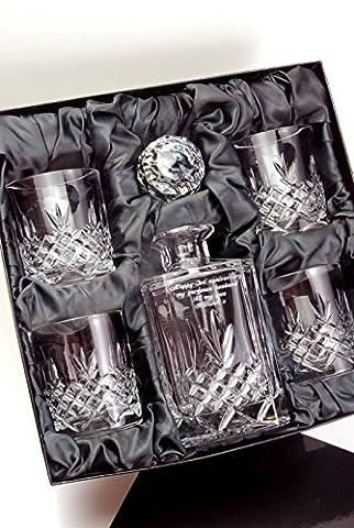 Engraved Buckingham Crystal 5-Piece Whisky Decanter Set in Satin Presentation Box