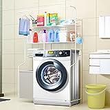 3-Tier Metall Bad Regal über WC Raumsparer über Waschmaschine (W) 110 (D) 40 * (H) 165 cm Elfenbein-weiß
