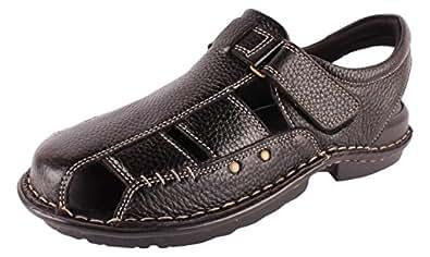 Vijetha Shoes Men's Black Leather Outdoor Sandals - 10 UK