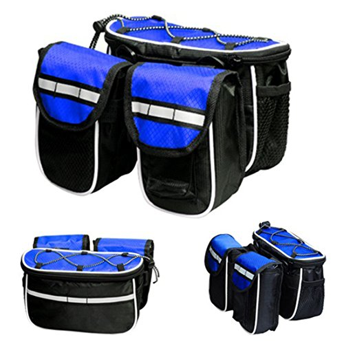 Bike Bags, ADiPROD Bike Bicycle Cycling Mountain Frame Front Tube Pannier Saddle Bag Tube Pouch (Blue)