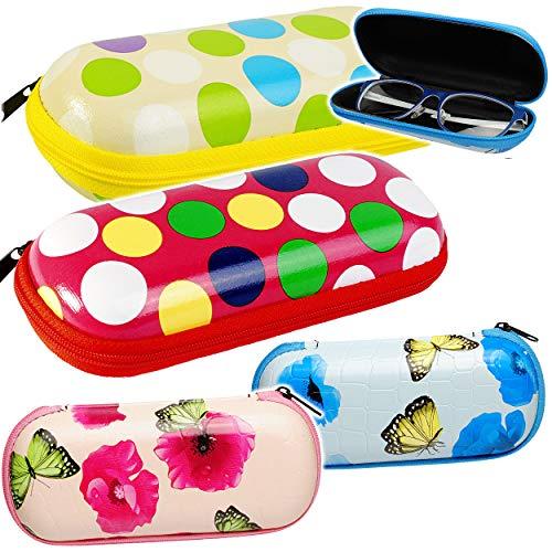 alles-meine.de GmbH Brillenetui / Brillenbox - Blumen - Schmetterlinge - Punkte - Hardcase / Hartschale - extrem stabil - Organizer - kleine Tasche für Utensilien - für Kinder & ..