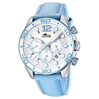 Lotus 15782/4 de cuarzo para mujer, correa de cuero color azul (cronómetro)