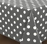 Wachstuchtischdecke OVAL RUND ECKIG Motiv u. Größe wählbar, Tischdecke abwischbar (Rund 130 cm Punkte weiß-anthrazit)