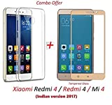 #10: YuniKase Xiaomi Redmi 4 / Redmi 4 / Mi 4 / Redmi4 / Mi4 [May 2017 Release] (COMBO OFFER) Original Sleek Premium Clear Soft Back Cover Case For RedMi 4 -( Transparent ) + 2.5D curved 3D Edge to Edge Tempered Glass Mobile Screen Protector ( Gold ) BY YuniKase