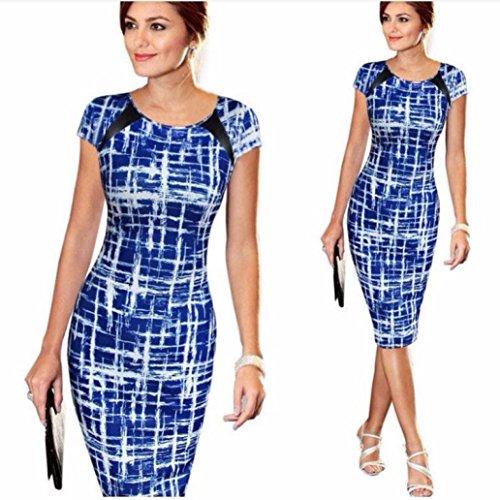 Mini Robe Pour Femme, Honestyi Robe de Cocktail Sexy Svelte Wrap Hip Dress Manche Courte Élastique (XL, Bleu)