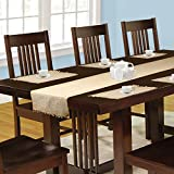 #4: Dhrohar Hand Woven Cotton Twill Table Runner and Mat Set - Set of 7 - Beige & Tan