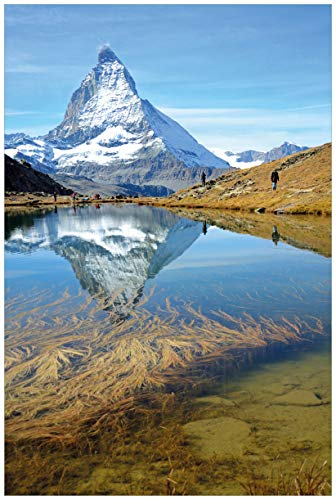 Wallario Acrylglasbild Matterhorn - Spiegelung im See - 60 x 90 cm in Premium-Qualität: Brillante Farben, freischwebende Optik