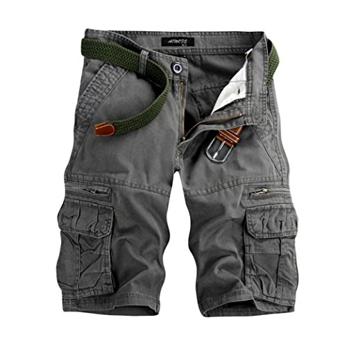 GreatestPAK Pants Pure Color Shorts Herren Outdoor Taschen Strand Arbeit Hosen Cargo Pant,29(XXS),Grau -