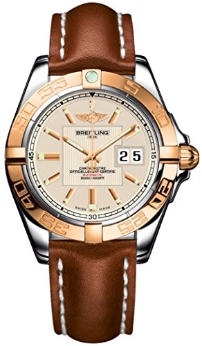 breitling-breitling-galactic-41-mens-automatic-watch-with-silver-dial-analogue-display-and-brown-lea
