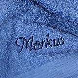 Duschtuch mit Namen nach Wunsch bestickt, 70 x 140 cm, Fjord/Blau, Stickfarbe Blau, Qualität von deutschen Herstellern, schwere Premium-Qualität, 100% Baumwolle, OEKO-TEX®-zertifiziert, Frottier Handtuch einfarbig, Farbe zur Auswahl, Stickerei nach Wunsch, Übermittlung Name: Button Jetzt anpassen --->