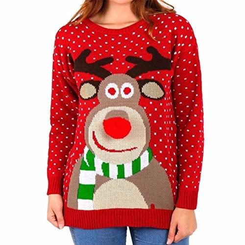 ullover 3D Rudolph Rentier Elfe Weihnachten Pullover - Rote Bommel Nase, M ()