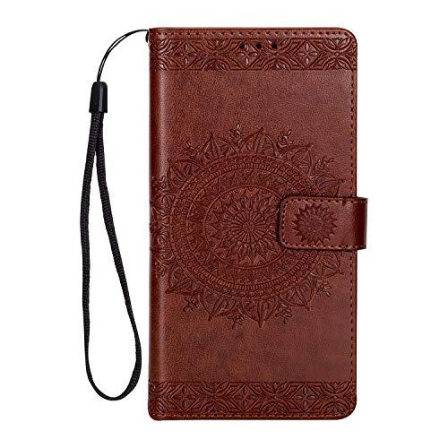 LG K8 2017 Hülle DENDICO Leder Case Flip Brieftasche Tasche [Kredit Karten] [Stand Funktion] Magnet Schutzhülle für LG K8 2017 - Braun